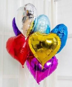 7 фолгированных сердец или звезд 1400